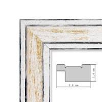3er Set Bilderrahmen Pastell / Alt-Weiß Gold 13x18 cm Massivholz mit Vintage Look / Fotorahmen / Wechselrahmen – Bild 3