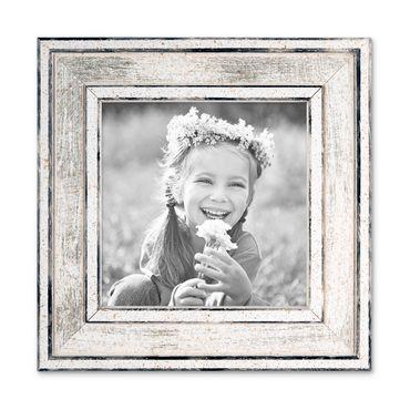 Bilderrahmen Pastell / Alt-Weiß Silber 10x10 cm Massivholz mit Vintage Look / Fotorahmen / Wechselrahmen