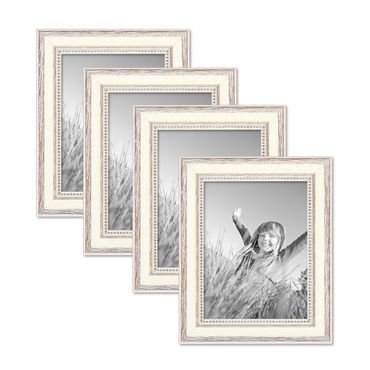 4er Set Bilderrahmen Shabby-Chic Landhaus-Stil Weiss 15x20 cm Massivholz mit Glasscheibe und Zubehör / Fotorahmen