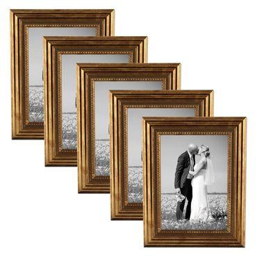 5er Set Bilderrahmen 15x20 cm Gold Barock Antik Massivholz mit Glasscheibe und Zubehör / Fotorahmen / Barock-Rahmen