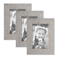 3er Bilderrahmen-Set 10x15 cm Strandhaus Grau Rustikal Massivholz mit Glasscheibe inkl. Zubehör / Fotorahmen  – Bild 1