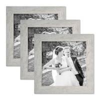 3er Bilderrahmen-Set 20x20 cm Strandhaus Grau Rustikal Massivholz mit Glasscheibe inkl. Zubehör / Fotorahmen