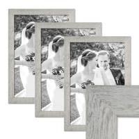 3er Bilderrahmen-Set 30x45 cm Strandhaus Grau Rustikal Massivholz mit Glasscheibe inkl. Zubehör / Fotorahmen  – Bild 1