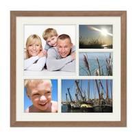 Fotocollage-Bilderrahmen 30x30 cm im Landhaus-Stil, Eiche-Optik, Collagerahmen, Bildergalerie-Rahmen für 5 Bilder, Wechselrahmen mit Passepartout – Bild 1