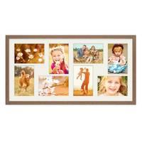 Fotocollage-Bilderrahmen 30x60 cm im Landhaus-Stil, Eiche-Optik, Collagerahmen, Bildergalerie-Rahmen für 8 Bilder, Wechselrahmen mit Passepartout