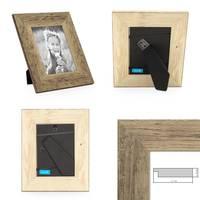 2er Bilderrahmen-Set 13x18 cm Strandhaus Breit Rustikal Eiche-Optik Massivholz mit Glasscheibe inkl. Zubehör / Fotorahmen  – Bild 2