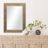 Wand-Spiegel 30x40 cm im Massivholz-Rahmen Strandhaus-Stil Breit Eiche-Optik Rustikal / Spiegelfläche 20x30 cm – Bild 2