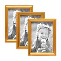 3er Set Bilderrahmen Gold Barock Antik 15x20 cm Fotorahmen mit Glasscheibe / Kunststoffrahmen – Bild 1
