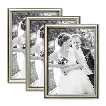3er Set Bilderrahmen Silber Barock Antik 21x30 cm DIN A4 Fotorahmen mit Glasscheibe / Kunststoffrahmen