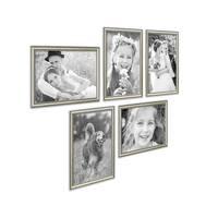 5er Bilderrahmen-Collage Silber Barock Antik 21x30 cm DIN A4 aus Kunststoff inklusive Zubehör / Foto-Collage / Bildergalerie / Bilderrahmen-Set