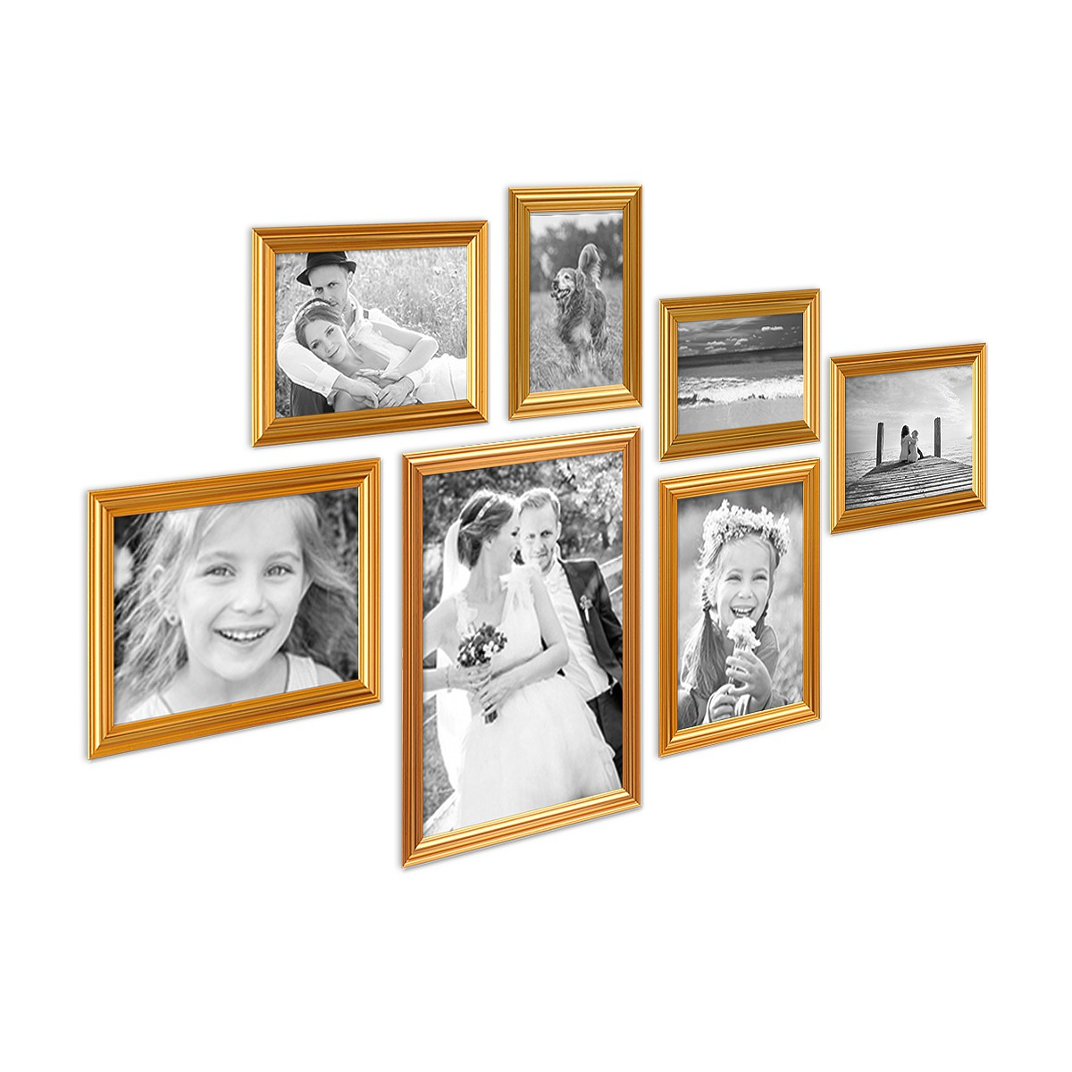 7er Bilderrahmen-Set Gold Barock Antik aus Kunststoff inklusive ...