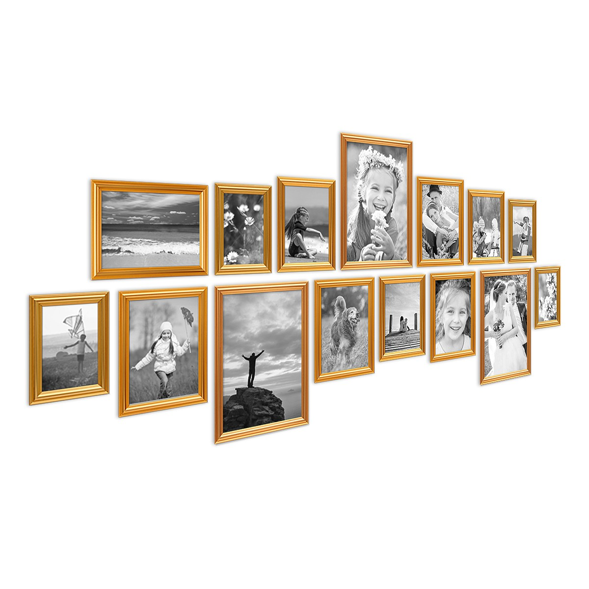 15er Bilderrahmen-Set Gold Barock Antik aus Kunststoff inklusive ...
