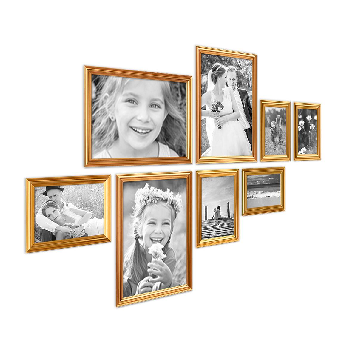 8er Bilderrahmen-Set Gold Barock Antik aus Kunststoff inklusive ...