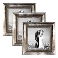 3er Set Bilderrahmen 10x10 cm Silber Barock Antik Massivholz mit Glasscheibe und Zubehör / Fotorahmen / Barock-Rahmen