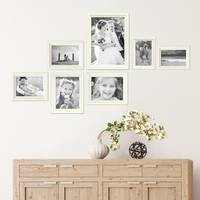 7er Bilderrahmen-Set Landhaus-Stil Shabby-Chic Weiss Massivholz / Fotorahmen / Portraitrahmen  – Bild 2