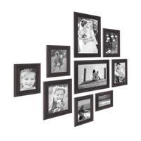 9er Bilderrahmen-Set Shabby-Chic Landhaus-Stil Dunkelbraun
