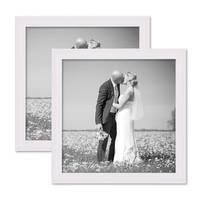 2er Set Landhaus-Bilderrahmen 20x20 cm Weiss Massivholz mit Glasscheibe und Zubehör / Fotorahmen  – Bild 1