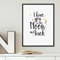 Design-Poster mit Bilderrahmen Schwarz 'To the Moon' 30x40 cm mit Goldaufdruck Typographie Spruch – Bild 2
