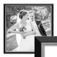 Bilderrahmen 50x50 cm Schwarz Modern mit Silberkante Massivholz-Rahmen mit Glasscheibe und Zubehör / Fotorahmen  – Bild 1