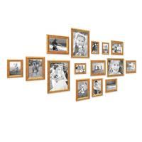 15er Bilderrahmen-Set Antik Gold Nostalgie 10x15 bis 21x30 cm Fotorahmen mit Glasscheibe / inklusive Zubehör