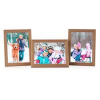 3er Set Landhaus-Bilderrahmen 13x18 cm Eiche-Optik Massivholz mit Glasscheibe und Zubehör zum Stellen oder Hängen  – Bild 7