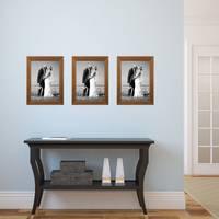 3er Set Landhaus-Bilderrahmen 21x30 cm / DIN A4 Eiche-Optik Massivholz mit Glasscheibe und Zubehör / Fotorahmen  – Bild 5