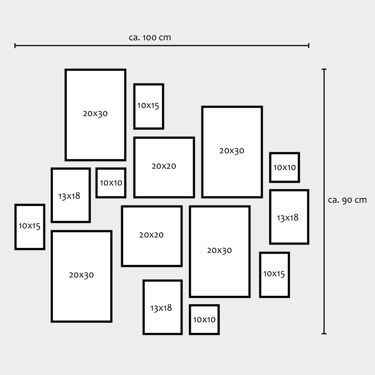 15er set bilderrahmen modern weiss aus mdf 10x15 bis 20x30 - Anordnung bilderrahmen ...