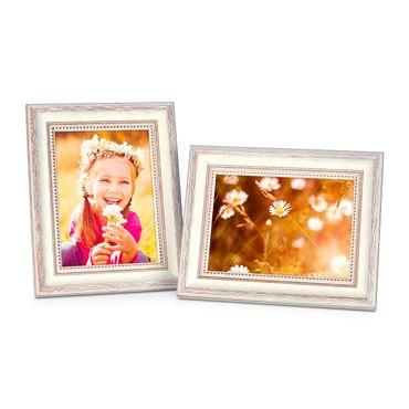 2er Set Bilderrahmen Shabby-Chic Landhaus-Stil Weiss 18x24 cm Massivholz mit Glasscheibe und Zubehör / Fotorahmen