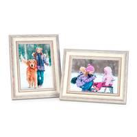 2er Set Bilderrahmen Shabby-Chic Landhaus-Stil Weiss 18x24 cm Massivholz mit Glasscheibe und Zubehör / Fotorahmen  – Bild 6
