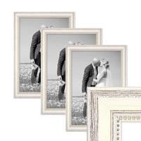 3er Bilderrahmen-Set Shabby-Chic Landhaus-Stil Weiss 30x45 cm Massivholz