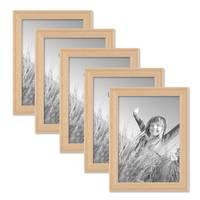 5er Set Landhaus-Bilderrahmen 13x18 cm Holz Natur Massivholz mit Glasscheibe zum Stellen oder Hängen