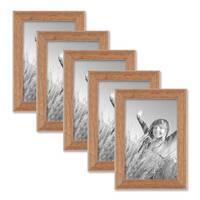5er Set Landhaus-Bilderrahmen 10x15 cm Eiche-Optik Massivholz mit Glasscheibe – Bild 1