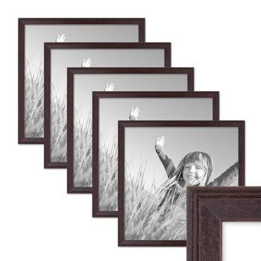 5er Set Landhaus-Bilderrahmen 30x30 cm Nuss Modern Massivholz mit Glasscheibe und Zubehör / Fotorahmen