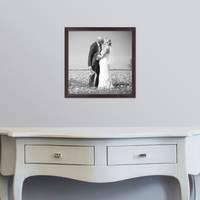 5er Set Landhaus-Bilderrahmen 30x30 cm Nuss Modern Massivholz mit Glasscheibe und Zubehör / Fotorahmen  – Bild 2