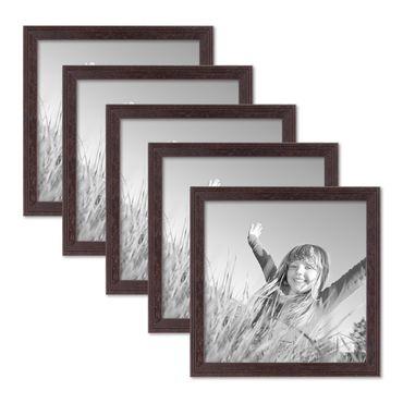 5er Set Landhaus-Bilderrahmen 20x20 cm Nuss Modern Massivholz mit Glasscheibe und Zubehör / Fotorahmen