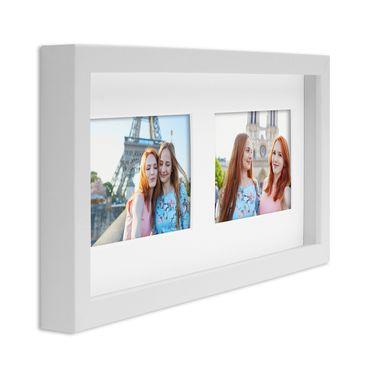 Fotocollage-Bilderrahmen Modern, Weiss, MDF-Objektrahmen, Bildergalerie-Rahmen Tief für 2 Bilder 10x15 cm, 3D-Rahmen mit Passepartout