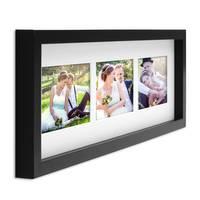 Fotocollage-Bilderrahmen Modern Schwarz MDF-Objektrahmen Bildergalerie-Rahmen Tief für 3 Bilder 10x15 cm 3D-Rahmen mit Passepartout