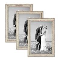 3er Set Vintage Bilderrahmen 30x40 cm Weiss Shabby-Chic Massivholz mit Glasscheibe und Zubehör / Fotorahmen / Nostalgierahmen  – Bild 1