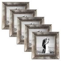 5er Set Bilderrahmen 10x10 cm Silber Barock Antik Massivholz mit Glasscheibe und Zubehör / Fotorahmen / Barock-Rahmen