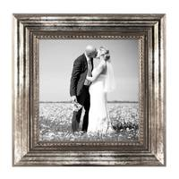 5er Set Bilderrahmen 20x20 cm Silber Barock Antik Massivholz mit Glasscheibe und Zubehör / Fotorahmen / Barock-Rahmen  – Bild 3