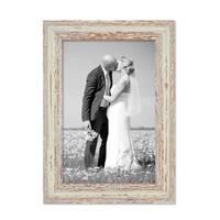 Vintage Bilderrahmen 20x30 cm Weiss Shabby-Chic Massivholz mit Glasscheibe und Zubehör / Fotorahmen / Nostalgierahmen