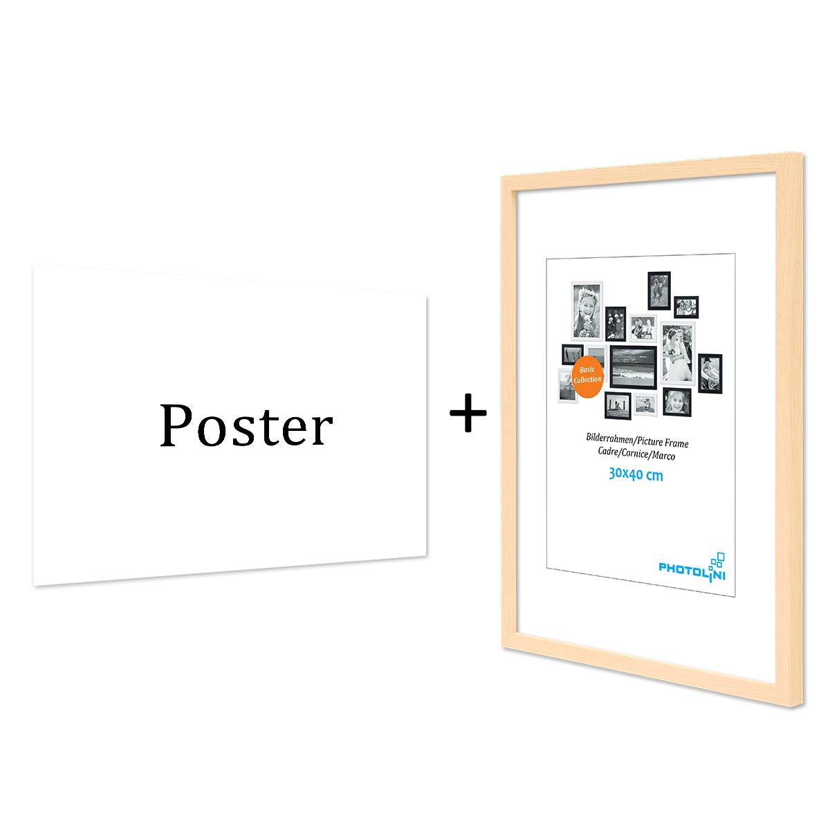 design poster mit bilderrahmen natur 39 frauenkopf 39 30x40 cm schwarz weiss motiv frau aquarell. Black Bedroom Furniture Sets. Home Design Ideas