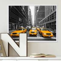 Poster mit Bilderrahmen Weiss 'Taxi' 30x40 cm Motiv Stadtbild New York City Foto Modern – Bild 1
