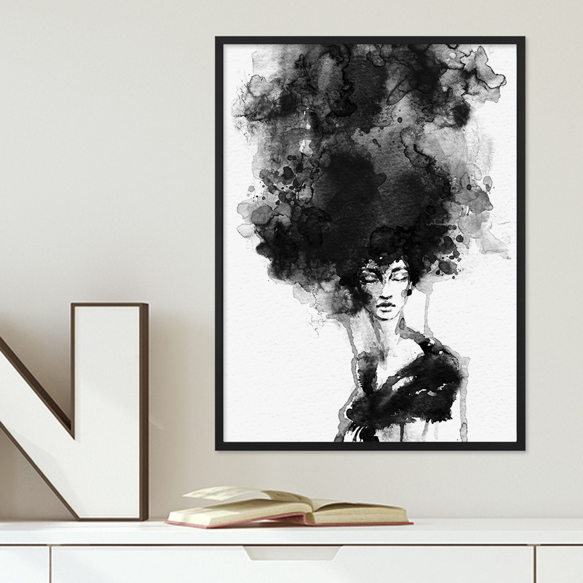 design poster 39 woman 39 30x40 cm schwarz weiss motiv frau aquarell poster design motive. Black Bedroom Furniture Sets. Home Design Ideas