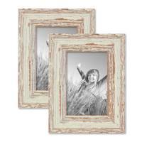 Vintage Bilderrahmen 2er Set 10x15 cm Weiss Shabby-Chic