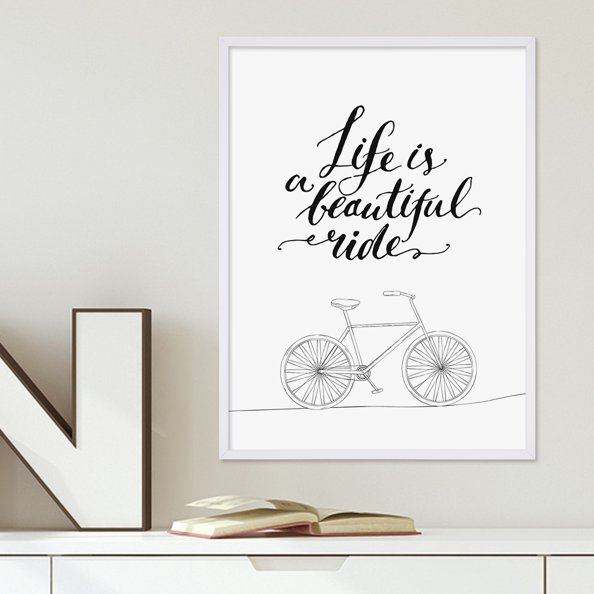 poster mit bilderrahmen weiss 39 beautiful ride 39 30x40 cm schwarz weiss motiv typographie spruch. Black Bedroom Furniture Sets. Home Design Ideas