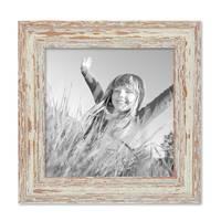 2er Set Bilderrahmen 20x20 cm Weiss Shabby-Chic Vintage Massivholz mit Glasscheibe und Zubehör / Fotorahmen / Nostalgierahmen  – Bild 4