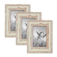 Vintage Bilderrahmen 3er Set 10x15 cm Weiss Shabby-Chic