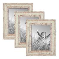3er Set Bilderrahmen 15x20 cm Weiss Shabby-Chic Vintage Massivholz mit Glasscheibe und Zubehör / Fotorahmen / Nostalgierahmen  – Bild 1