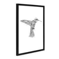 Design-Poster mit Bilderrahmen Schwarz 'Kolibri' 30x40 cm schwarz-weiss Motiv Vogel Zeichnung